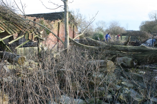 Some of the damage still remains from the floods